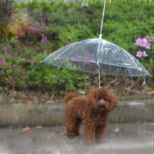 Portable Pet Dog Cat Umbrella Transparent with Built-in Leash Puppy Dry in Rain