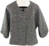 AK Anne Klein Womens Ladies Black White Button Front Wide Sleeve Jacket Size 14