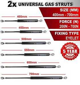 2X UNIVERSAL GAS STRUTS SPRINGS 400-700mm 200-700N EYELET FOR MULTI PURPOSE