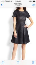 Elie Tahari Evangelina Laser Cut Leather Dress - Black