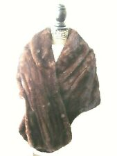 Vintage Mink Dark Brown Fur Satin-Lined Large Aronowicz Ny Stole Wrap Cape