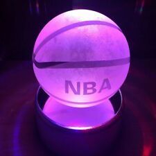 Basketball Gifts Decor Figurines 3D Lamp Crystal Ball LED Nightlight Clear Laser