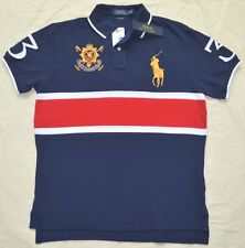 New Small S POLO RALPH LAUREN Mens Custom Fit Big pony rugby shirt Navy red top