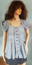 Ladies Maine Blouse Shirt Top Tunic 10/12 blue ruffle lace belt hippie Boho