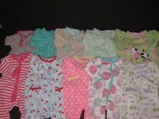 Baby Girl 3 Months Sleepers Sleep & Play Sleepwear Clothes Lot All snap front