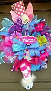 """Handmade 30"""" Easter Bunny Wreath XL Spring Deco Mesh Door Decor Legs & Hat"""