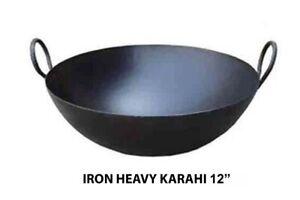 Indian Iron Kadai Deep Frying Pan Karahi Cooking Pan Kitchen Wok With Handle UK