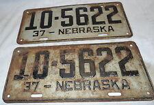 Nebraska  License Plates, 1937, Set of (2), Platte, RAT ROD, HOT, Vintage, (M)