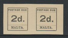 More details for malta - 1925, 2d postage due joined pair of stamps - m/m - sg d4
