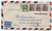 1933 airmail cover Rosemead CA flag cancel to Spain with commemoratives [3020]