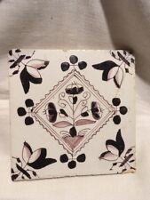 Antique Delft Manganese Tile Floral Cartouche Hand Painted 18C