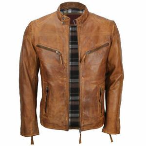 New Mens Biker Cafe Racer Vintage Motorcycle Distressed Tan Brown Leather Jacket