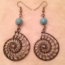 Bronze Snail Shell Turquoise Bead Charm Earrings