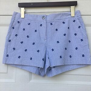 BROOKS BROTHERS  Women 8  Blue White Seersucker Cotton ShortsEmbroidered Bees