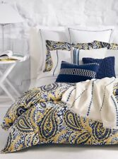 Ralph Lauren Parrot Cay Rhylee Full / Queen Duvet Cover Blue / Yellow