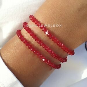 3 Gift Set Top Quality Crystal Beads Bracelets Red Glass Faceted Elastic Stretch