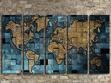 METTALICS WORLD MAP LARGE CANVAS PRINT SET OF 5 (ON FRAME) WALL ART