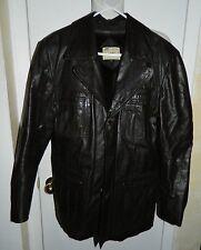 Vtg Dark Brown Leather David Michael Lined Jacket Coat Size 40