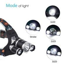 Headlamp Headlight, 3 HEAD CREE XM-L T6 LED, BY PROCAMP, 13000LM, 18650 BAT.