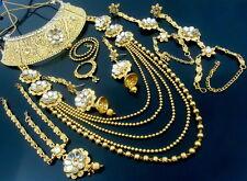 WHITE KUNDAN CZ GOLD TONE SOUTH INDIAN BRIDAL DULHAN BOLLYWOOD JEWELRY SET 9 PCS