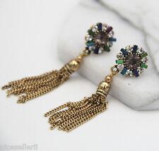 Boho Fashion Black Crystal Ear Drop Dangle Stud long Ancient Silver Earrings 270