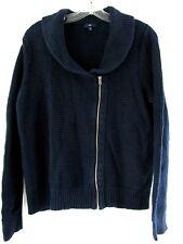 Gap women sweater Size XL long sleeve Off Center Zip jacket Navy Blue