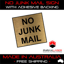 NO JUNK MAIL - GOLD SIGN - SQUARE - LABEL - PLAQUE with Adhesive 40mm x 40mm