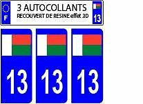 3 stickers plaque immatriculation auto DOMING 3D RESINE DRAPEAU MADAGASCAR 13