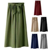 Women Elastic High Waist Wide Leg Pants Solid Color Baggy Loose Ankle Trousers