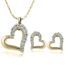 Large Gold GP Heart Necklace Set Earring Set Gift