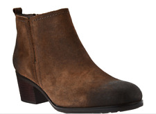 Rockport Total Motion Leather Distressed Ankle Boots Clove Suede Women's Size 10