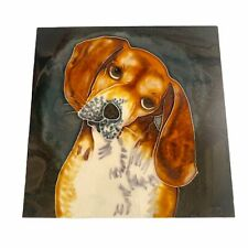 More details for 🌟beautiful beagle hand painted square ceramic tile wall plaque by mm 20 x 20cm
