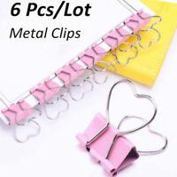 6Pcs/Lots Pink Note Paper Metal Clips Set Heart Shape School Office Supplies QP