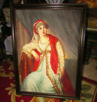 Vintage Oil Painting On Canvas Signed Ottoman Princess Red Folk, Unique Painting