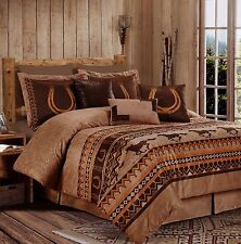 Microsuede Brown Western Horses Diamond Ranch 7 pcs Cal King Queen Comforter set