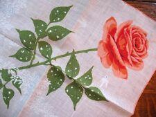 Vintage Hanky Orange Rose Ferns Little White Birds Handrolled Pretty!