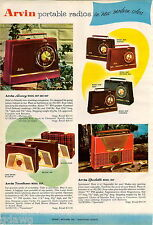 1956 ADVERT 4 PG Arvin Radios COLOR Plastic Case Portable Rainbow