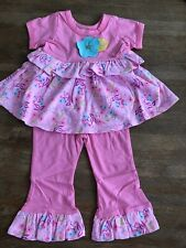 Girls 6 Months Boutique BABY LULU Ruffle Flower 2pc Simone Outfit NEW Pink Blue