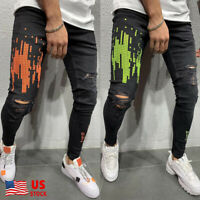 Men Ripped Jeans Frayed Slim Fit Distressed Denim Skinny Pencil Pants Casual US