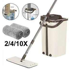 360° Flat Squeeze Microfiber Mop & Bucket Set +2/4/10 Pads tiles Floor Cleaning