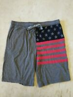 BioWorld Men's Jersey US Flag Drawstring Shorts  XXL Grey  New 2.99 Shipping