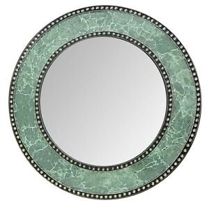 """DecorShore 24"""" Round Green Crackled Glass Wall Mirror - Open Box"""