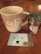 NEW 2016 Holiday Christmas Starbucks Polar Bear Mug, Ornament & Gift Card 2018