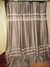 CROSCILL MOSAIC TILES JAVA BROWN EMBROIDERED SHOWER CURTAIN 68 X 74