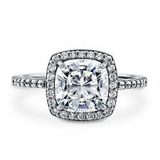 Fine 0.90 CT 14K White Gold Engagement Ring Cushion Diamond Rings Size M N O P
