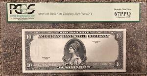 1929 AMERICAN BANK NOTE CO 10 UNITS SPECIMEN TEST PCGS 67 EPQ SUPERB GEM NEW NR