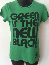 CHASER Women's Slogan Print Top T-Shirt Green Is The New Black Cotton