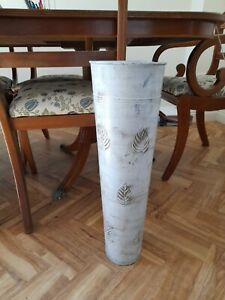 Floor vase bucket large metal tapered tall 62cmH brown white embossed leaves gc