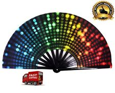 Folding Hand Rave Fan Bamboo Frame And Nylon-Cloth Craft Hand Fan For Women Men