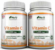 Vitamin C 1000 mg Nu U 2 Flaschen super stark 360 Tabletten 100% Garantie